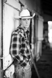 senior photos wearing cowboy hat black and white senior photos of triway graduate wooster ohio photographed by Jamie Lynette Photography Canton Ohio Wedding and Senior Photographer