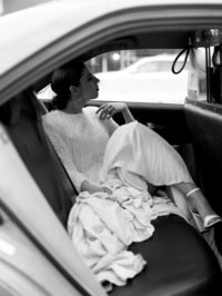 bride in a taxi in nyc