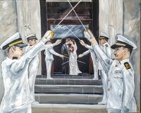 Live wedding painting of a military sword arch outside a US Naval Academy wedding in Annapolis Maryland
