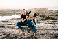 Boho beach engagement photography with dog at Montana de Oro by Amber McGaughey