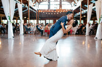 fun bride and groom first dance at kiana lodge in poulsbo washington
