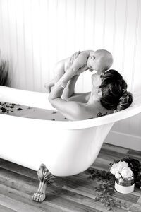 Indi 7 Month Mommy & Me Milk Bath Photos-32
