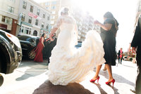 Photography of bride going to her wedding in Baltimore