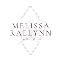 Melissa Raelynn Photography Logo with Purple Flower and triangle