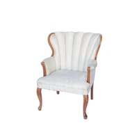 Vintage ivory chairs with medium toned wooden frame.