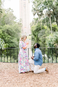 An in love couple gets engaged at Bok Tower Gardens