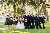 bridal party poses for portrait at wachesaw plantation
