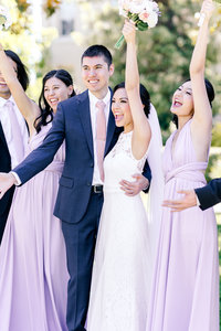 Bride and groom and bridal party, photo by Livermore wedding photographer