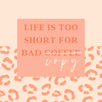 Quote image with the words Life is too short for bad coffee. The coffee  is crossed out and the words copy is added underneath.  If you need a copywriter in NZ that's me!