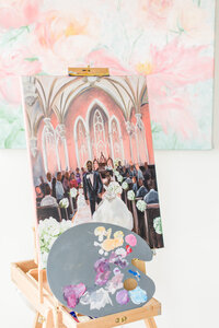 Completed Baltimore live wedding painting by artist Brittany Branson