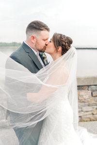 romantic veil shot of couple on their westchester wedding day, new york