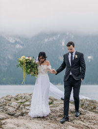 bohemian lake minnewanka banff wedding photography