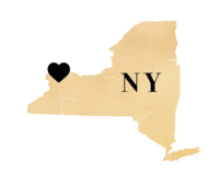 Gold Map of New York with heart in Buffalo, New York