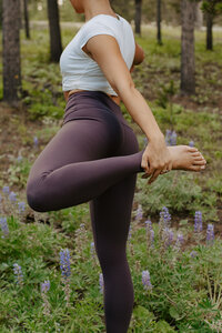 Yoga detail photography during brand session on mountain top in wildflowers
