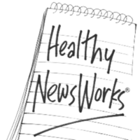 A grayscale logo for Healthy Newsworks.