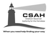 A grayscale logo for Chatham Savannah Authority for the Homeless.