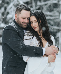 boho lake louise winter elopement photographers