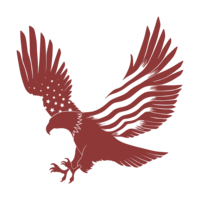 A red eagle illustration.