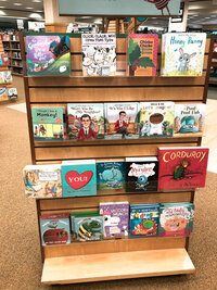 Childrens picture books in store display