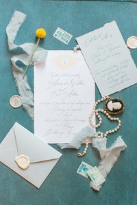 wedding invitations detail shot flat lay