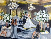 Christmas wedding reception live painting at the Hilton The Main in Norfolk Virginia