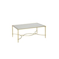 Gold frame coffee table with glass top.