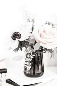 stock photo - blush flowers black vase - ll filter applied