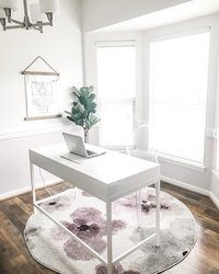 Charlotte Wedding Photographer | Heather Yvonne | Heather's home office with ikea desk and watercolor floral rug