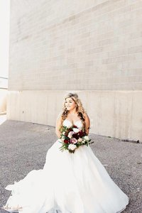 Ballgown wedding dress with long train