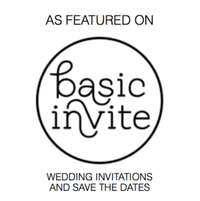 As Featured on Basic Invite Wedding Invitations and Save the Dates