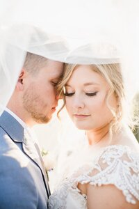 bride and groom under veil by Knoxville Wedding Photographer, Amanda May Photos