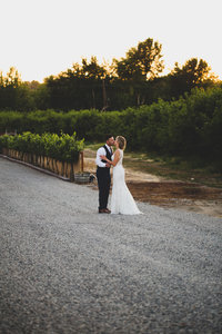 Bride and Groom sitting in front of grape vines