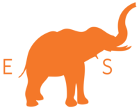 An orange logo with the letters E and S and an elephant for ESI.