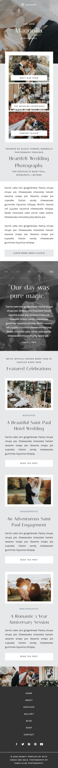 Showit Theme - Showit Design - Showit Template - With Grace and Gold - Branding, Web Design, and Education for Creative Women in Business - Photographers
