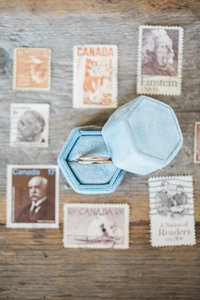 Engagement ring in Mrs Box with vintage stamps