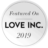 black and white featured on love inc badge