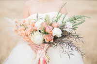 Pink and neutral wedding bouquet