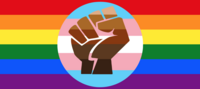 lgbtq+ logo of pride flag and black lives matter fist love is love all inclusive