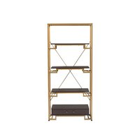Gold-tone steel frame, three dark wood shelves, and concealed drawer.