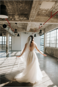a whimsical bride twirling