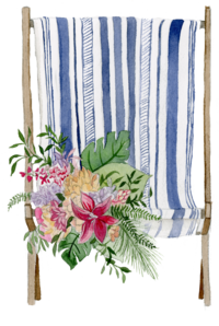 Beach Chair Watercolor Floral Print