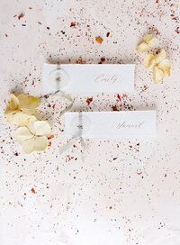 Name cards of bride and groom on handmade paper with sage color ribbon and was seal on them laying on top of crumbled dried flowers to give extra texture and color with three butterfly flowers on either side. Photographed by Wedding Photographers in Charleston Amy Mulder Photography.