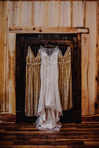 Three dresses hang from an ornate antique door