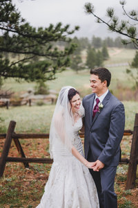 Laughing bride and groom in Colorado by Visual Poetry wedding photographer