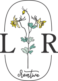 A logo with a floral line drawing, oval, L & R, and creative.