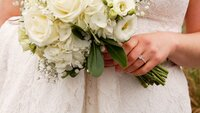 Bride Holding  Bouquet at Wequaquet Yacht Club, Centerville, Massachusetts Wedding
