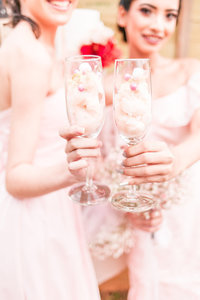 blush bridesmaids toasting detail shot