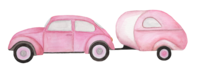 pink vw and camper