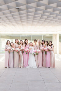 rose gold and pink bridesmaids dresses