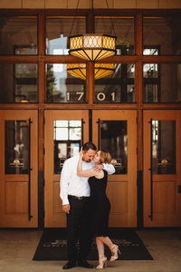 couple engagement photo at union station in denver colorado